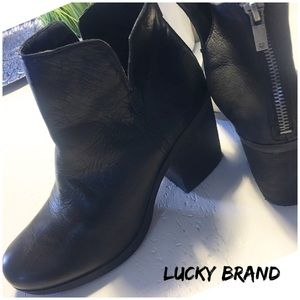 LUCKY BRAND black LEATHER ANKLE BOOTS 9 🔴SALE